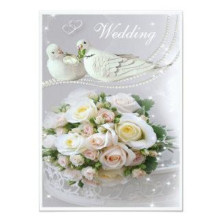 Romantic Doves, Sparkles & Roses Wedding 13 Cm X 18 Cm Invitation Card