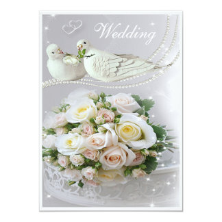 Romantic Doves, Sparkles & Roses Wedding Card