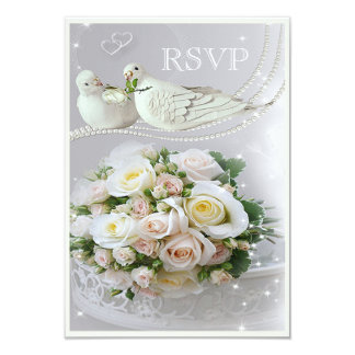 Romantic Doves, Sparkles & Roses Wedding RSVP 9 Cm X 13 Cm Invitation Card