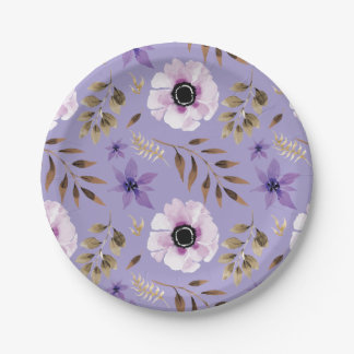 Romantic drawn purple floral botanical pattern 7 inch paper plate