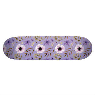 Romantic drawn purple floral botanical pattern custom skateboard
