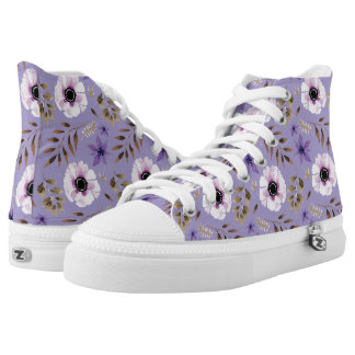 Romantic drawn purple floral botanical pattern high tops