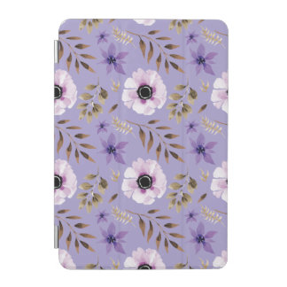 Romantic drawn purple floral botanical pattern iPad mini cover
