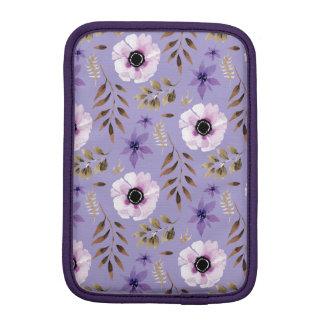Romantic drawn purple floral botanical pattern iPad mini sleeve