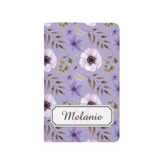 Romantic drawn purple floral botanical pattern journal