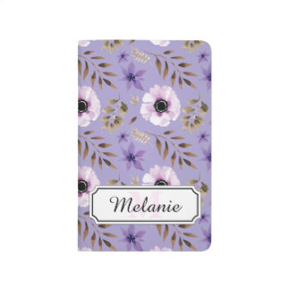 Romantic drawn purple floral botanical pattern journals