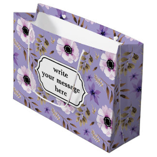 Romantic drawn purple floral botanical pattern large gift bag