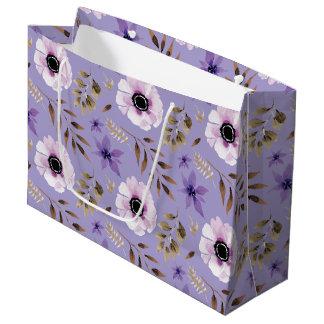 Romantic drawn purple floral botanical pattern large gift bag