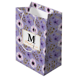 Romantic drawn purple floral botanical pattern medium gift bag