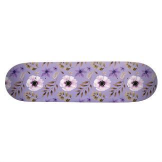 Romantic drawn purple floral botanical pattern skateboard deck