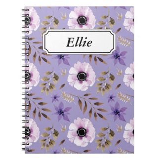 Romantic drawn purple floral botanical pattern spiral notebook
