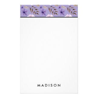 Romantic drawn purple floral botanical pattern stationery