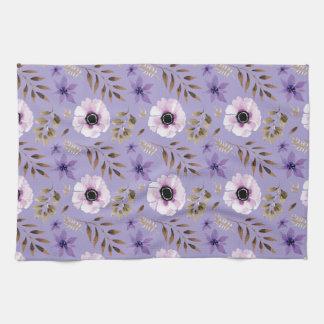 Romantic drawn purple floral botanical pattern tea towel