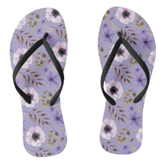 Romantic drawn purple floral botanical pattern thongs