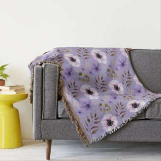 Romantic drawn purple floral botanical pattern throw blanket