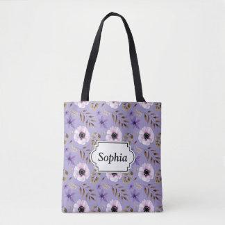 Romantic drawn purple floral botanical pattern tote bag