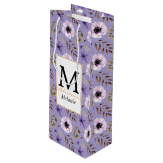 Romantic drawn purple floral botanical pattern wine gift bag