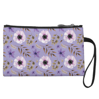 Romantic drawn purple floral botanical pattern wristlet