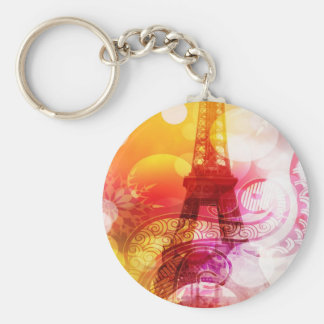 Romantic Eiffel Tower Basic Round Button Key Ring