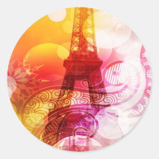 Romantic Eiffel Tower Round Sticker