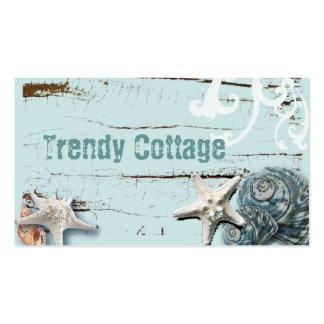Romantic Elegant blue Seashell Beach decor Business Card Template