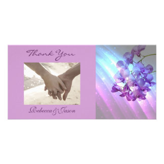 romantic elegant  purple orchid wedding thank you photo cards