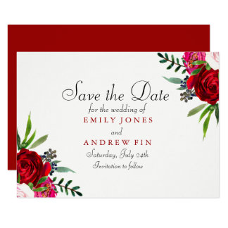 Romantic Elegant Red Rose Save the date card