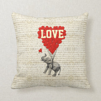 Romantic elephant and heart balloons throw pillow