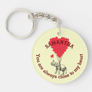 Romantic elephant and red heart personalized key ring