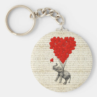 Romantic elephant & heart balloons basic round button key ring