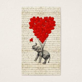 Romantic elephant & heart balloons business card