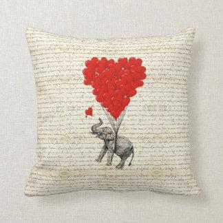 Romantic elephant & heart balloons cushion