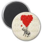 Romantic elephant & heart balloons magnet