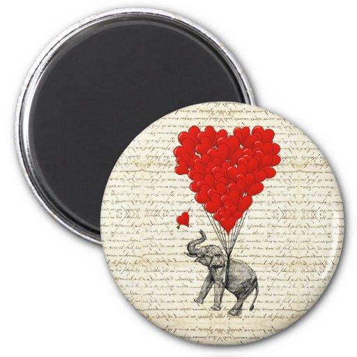 Romantic elephant & heart balloons fridge magnets