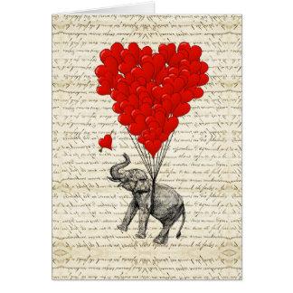 Romantic elephant & heart balloons note card