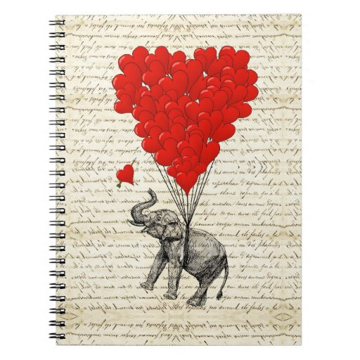 Romantic elephant & heart balloons spiral notebooks