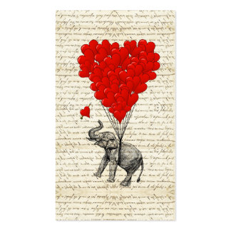 Romantic elephant & heart balloons pack of standard business cards