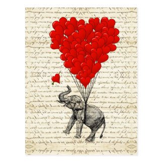 Romantic elephant & heart balloons postcard