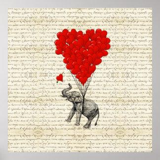 Romantic elephant & heart balloons poster