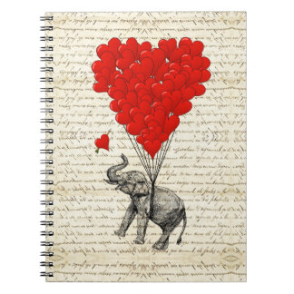 Romantic elephant heart balloons spiral notebooks