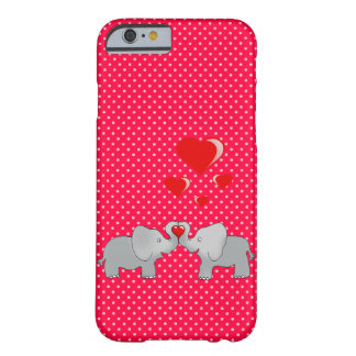 Romantic Elephants & Red Hearts On Polka Dots Barely There iPhone 6 Case