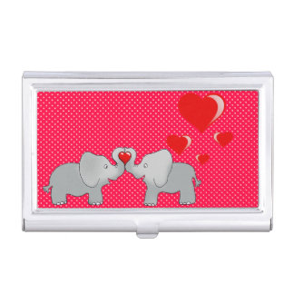 Romantic Elephants & Red Hearts On Polka Dots Business Card Holders