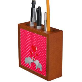 Romantic Elephants & Red Hearts On Polka Dots Desk Organiser