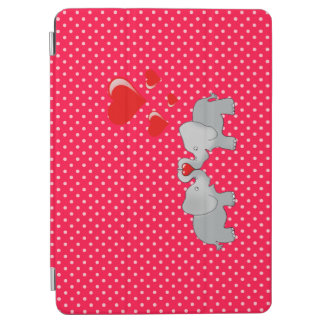 Romantic Elephants & Red Hearts On Polka Dots iPad Air Cover