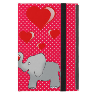 Romantic Elephants & Red Hearts On Polka Dots iPad Mini Case
