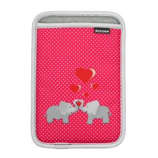 Romantic Elephants & Red Hearts On Polka Dots iPad Mini Sleeve