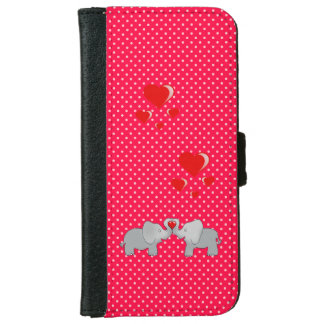 Romantic Elephants & Red Hearts On Polka Dots iPhone 6 Wallet Case