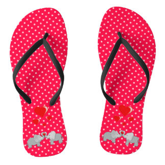 Romantic Elephants & Red Hearts On Polka Dots Thongs