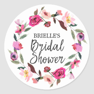 Romantic Fairytale Blossom Wreath Bridal Shower Classic Round Sticker