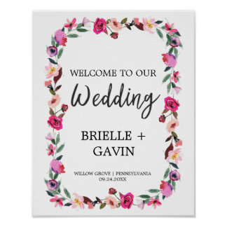 Romantic Fairytale Blossom Wreath Wedding Welcome Poster